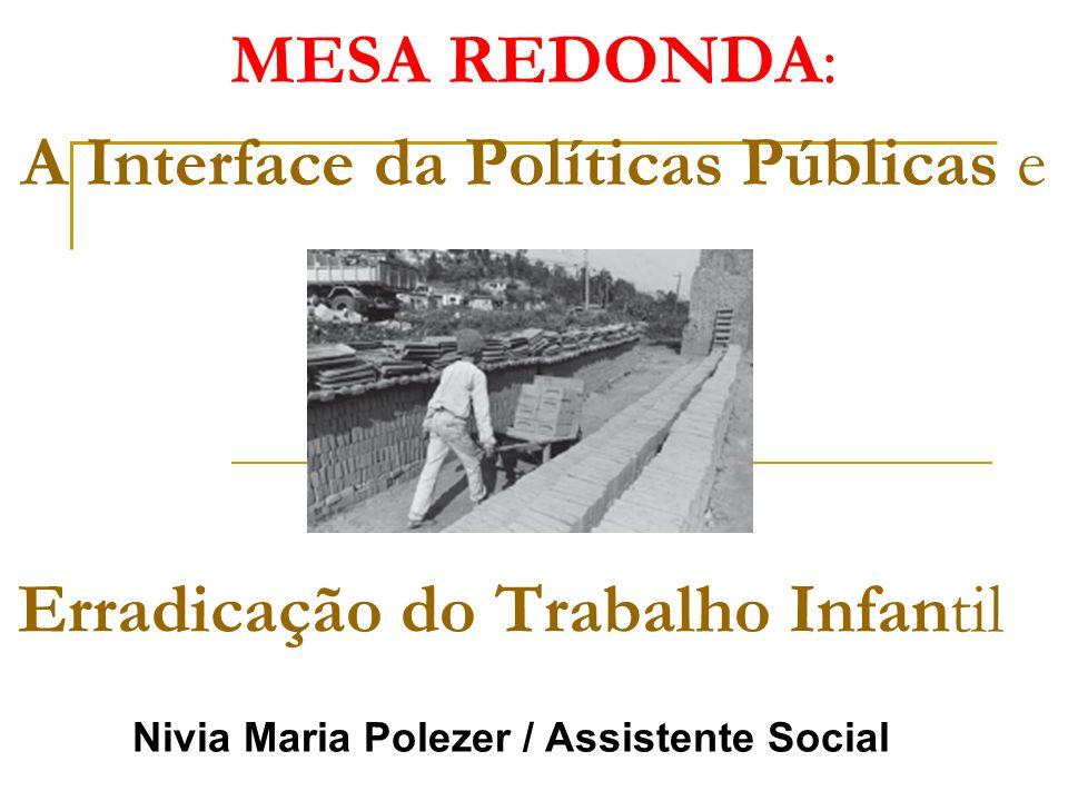 MESA REDONDA: A Interface da Políticas Públicas e Erradicação do Trabalho Infantil Nivia Maria Polezer / Assistente Social