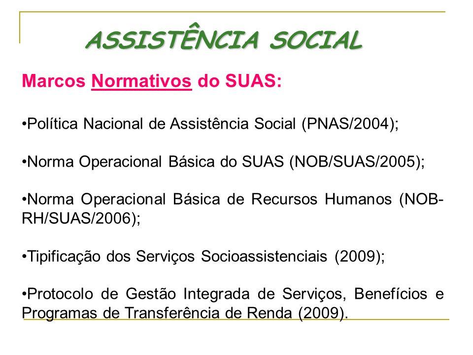 ASSISTÊNCIA SOCIAL Marcos Normativos do SUAS: Política Nacional de Assistência Social (PNAS/2004); Norma Operacional Básica do SUAS (NOB/SUAS/2005); N