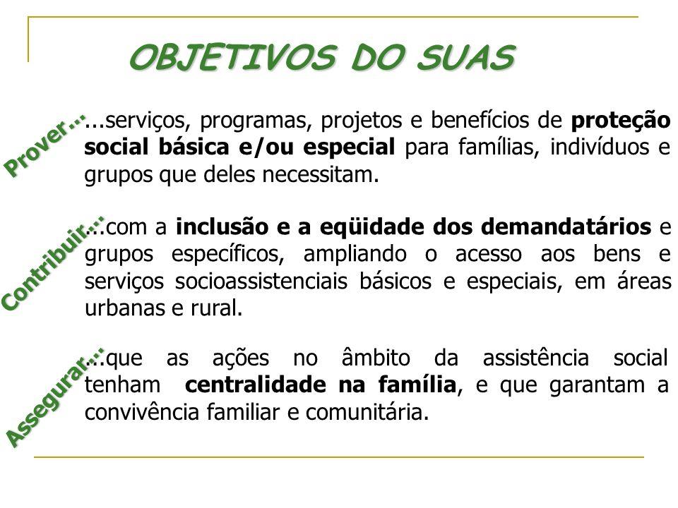 OBJETIVOS DO SUAS...que as ações no âmbito da assistência social tenham centralidade na família, e que garantam a convivência familiar e comunitária.