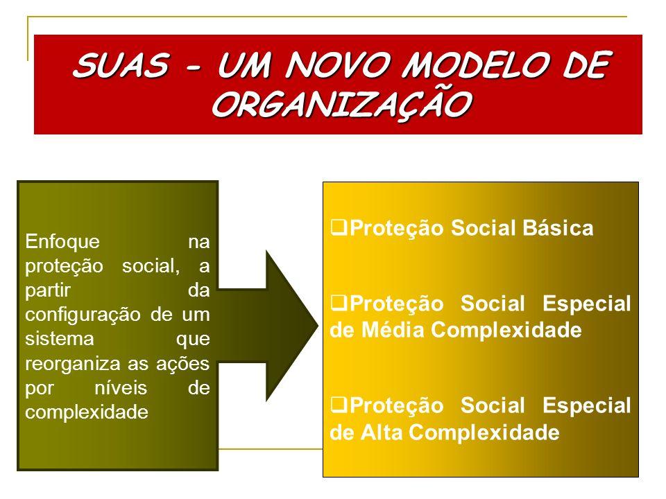 Enfoque na proteção social, a partir da configuração de um sistema que reorganiza as ações por níveis de complexidade Proteção Social Básica Proteção