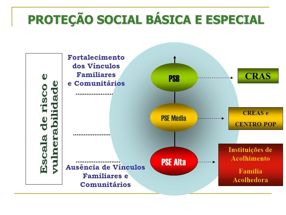PSB PSE Alta Ausência de Vínculos Familiares e Comunitários Fortalecimento dos Vínculos Familiares e Comunitários PROTEÇÃO SOCIAL BÁSICA E ESPECIAL CR