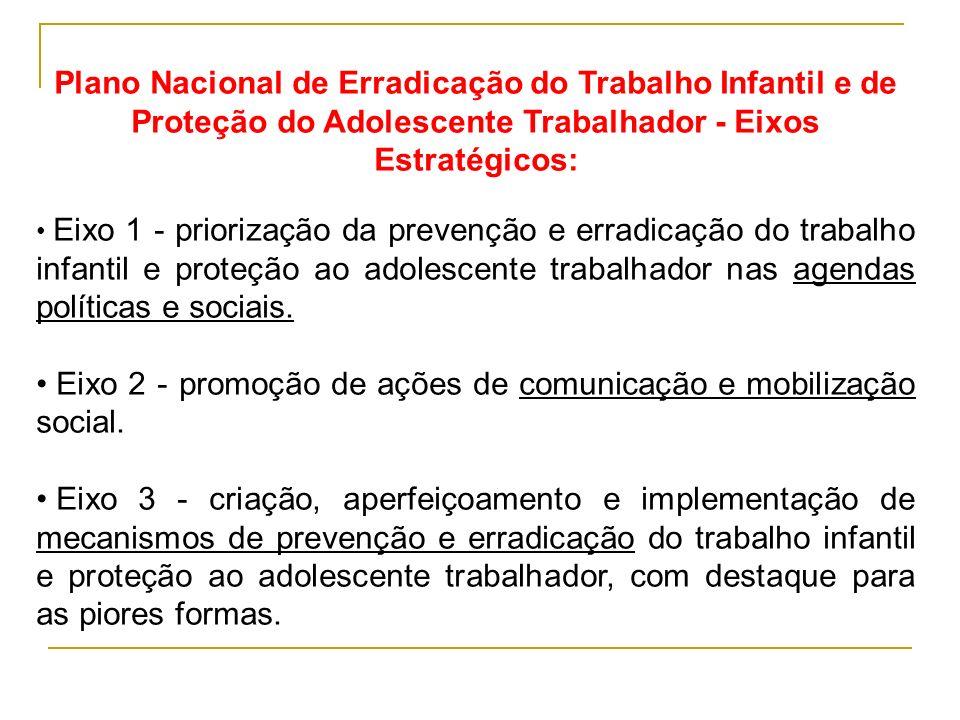 Plano Nacional de Erradicação do Trabalho Infantil e de Proteção do Adolescente Trabalhador - Eixos Estratégicos: Eixo 1 - priorização da prevenção e