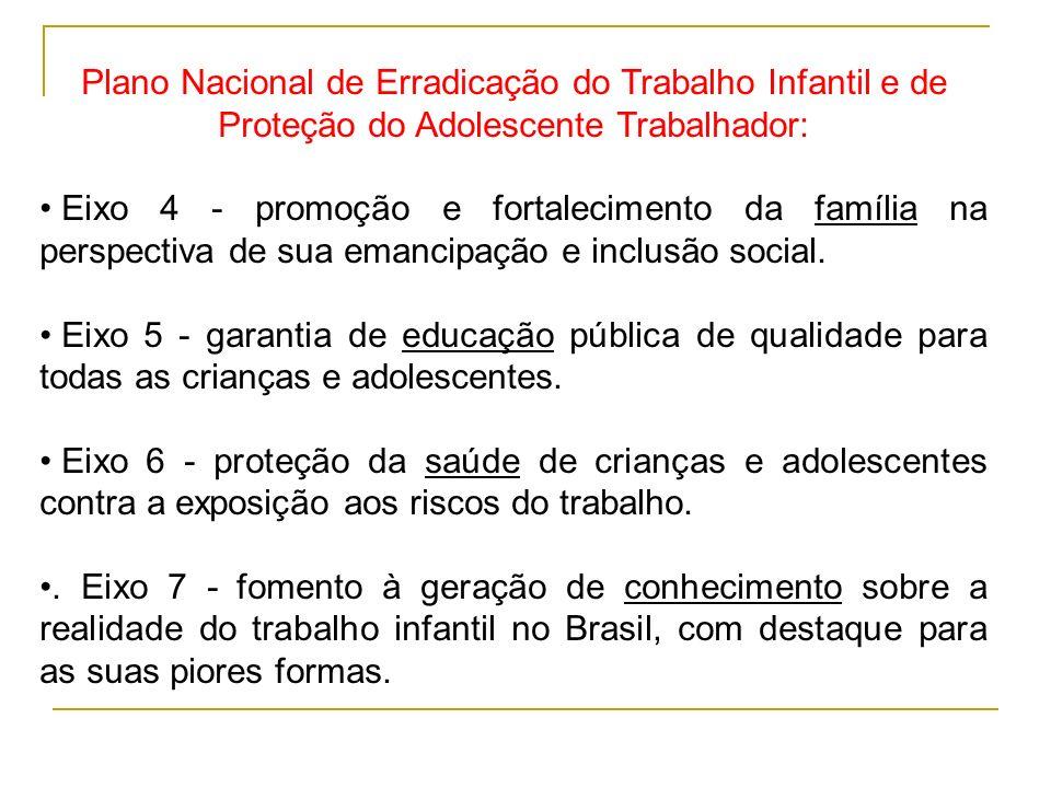 Plano Nacional de Erradicação do Trabalho Infantil e de Proteção do Adolescente Trabalhador: Eixo 4 - promoção e fortalecimento da família na perspect