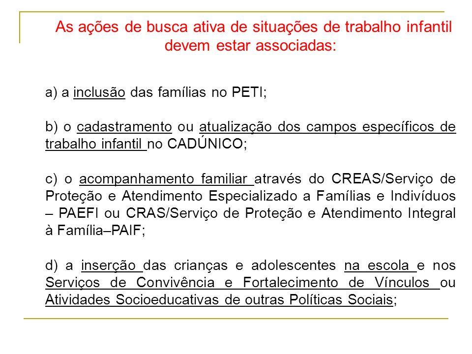 As ações de busca ativa de situações de trabalho infantil devem estar associadas: a ) a inclusão das famílias no PETI; b) o cadastramento ou atualizaç