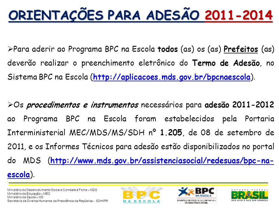 OBJETIVOS DA ADESÃO 2011-2014 Objetiva a participação de novos municípios no Programa e possibilita que os estados, o Distrito Federal e os municípios