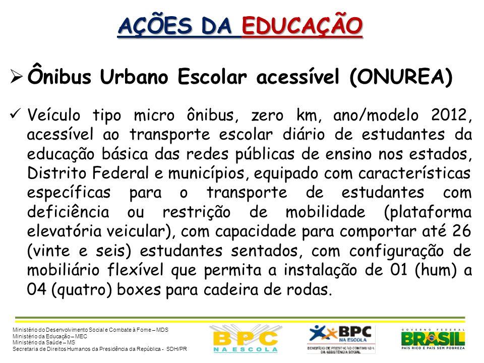 AÇÕES DA EDUCAÇÃO MEC MEC: Transporte Escolar Acessível Ação: disponibilizar ônibus urbano escolar acessível. Critério: prioridade para municípios com