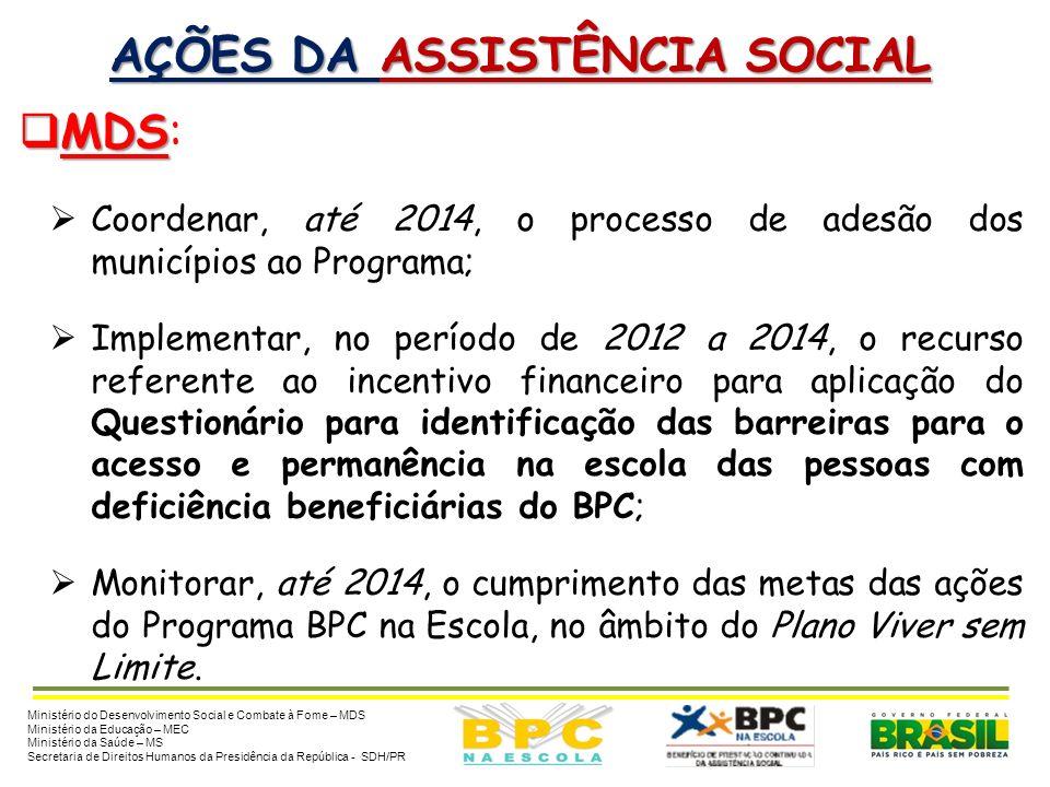 AÇÕES DA ASSISTÊNCIA SOCIAL MDS MDS: Disponibilizar, anualmente, no aplicativo do Programa BPC na Escola, a relação de crianças e adolescentes com def