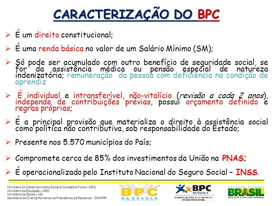 CARACTERIZAÇÃO DO BPC BENEFÍCIO DE PRESTAÇÃO CONTINUADA (BPC) – constitui renda mensal básica no valor de 1 SM, destinado às pessoas idosas (a partir