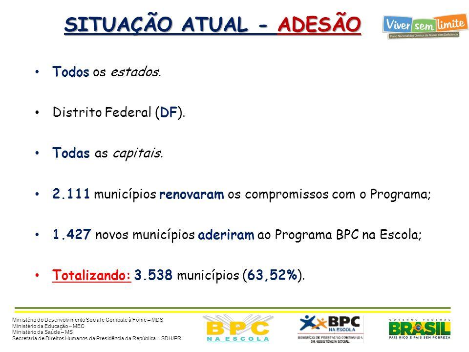 METAS - BPC NA ESCOLA 2014 Metas até 2014 : Estimativa de 540 mil beneficiários de 0 a 18 anos até 2014: 100% dos municípios com adesão ao Programa BP