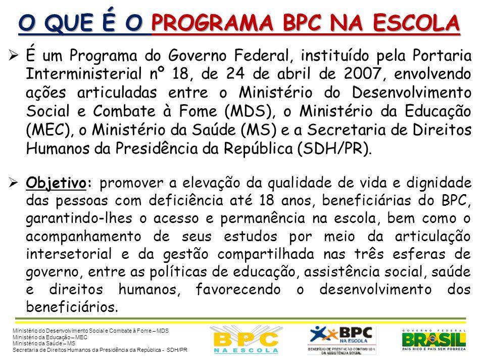 O QUE É O PROGRAMA BPC NA ESCOLA É um Programa do Governo Federal, instituído pela Portaria Interministerial nº 18, de 24 de abril de 2007, envolvendo ações articuladas entre o Ministério do Desenvolvimento Social e Combate à Fome (MDS), o Ministério da Educação (MEC), o Ministério da Saúde (MS) e a Secretaria de Direitos Humanos da Presidência da República (SDH/PR).