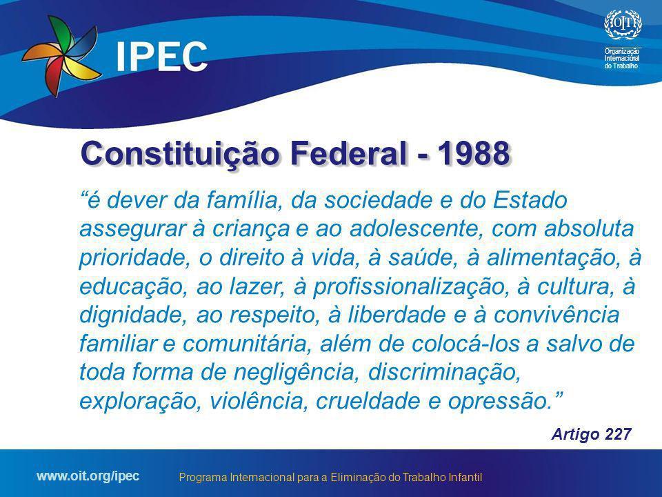 Organização Internacional do Trabalho www.oit.org/ipec Programa Internacional para a Eliminação do Trabalho Infantil é dever da família, da sociedade