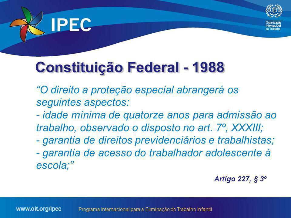 Organização Internacional do Trabalho www.oit.org/ipec Programa Internacional para a Eliminação do Trabalho Infantil O direito a proteção especial abr