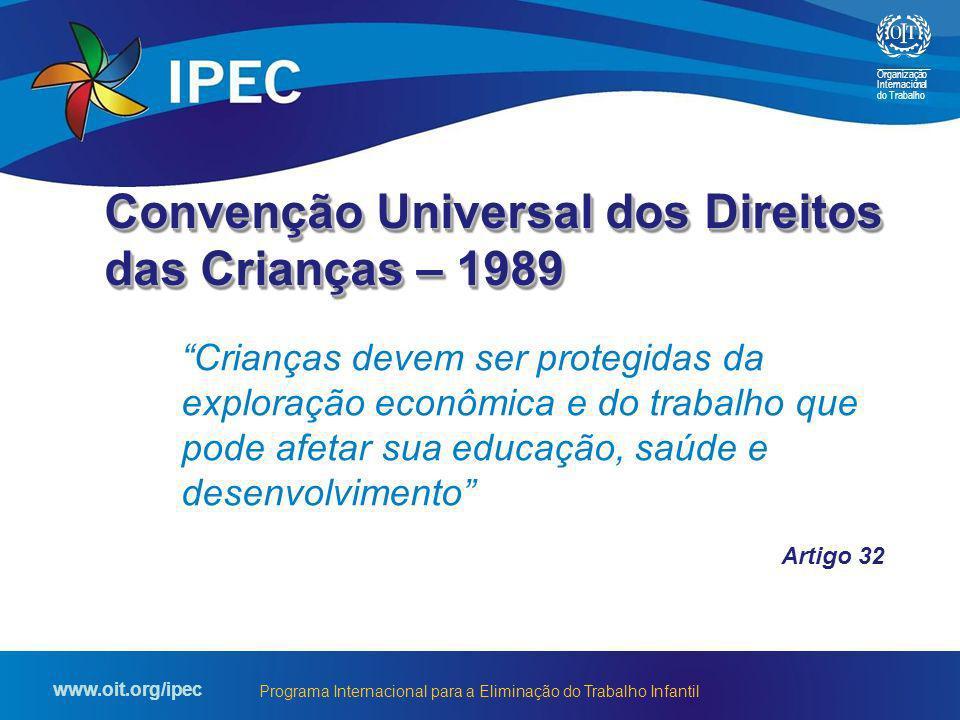 Organização Internacional do Trabalho www.oit.org/ipec Programa Internacional para a Eliminação do Trabalho Infantil Crianças devem ser protegidas da