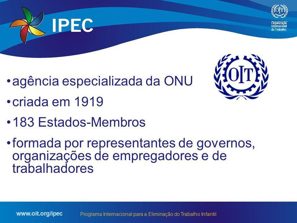 Organização Internacional do Trabalho www.oit.org/ipec Programa Internacional para a Eliminação do Trabalho Infantil agência especializada da ONU cria