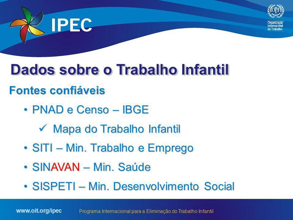 Organização Internacional do Trabalho www.oit.org/ipec Programa Internacional para a Eliminação do Trabalho Infantil Fontes confiáveis PNAD e Censo –