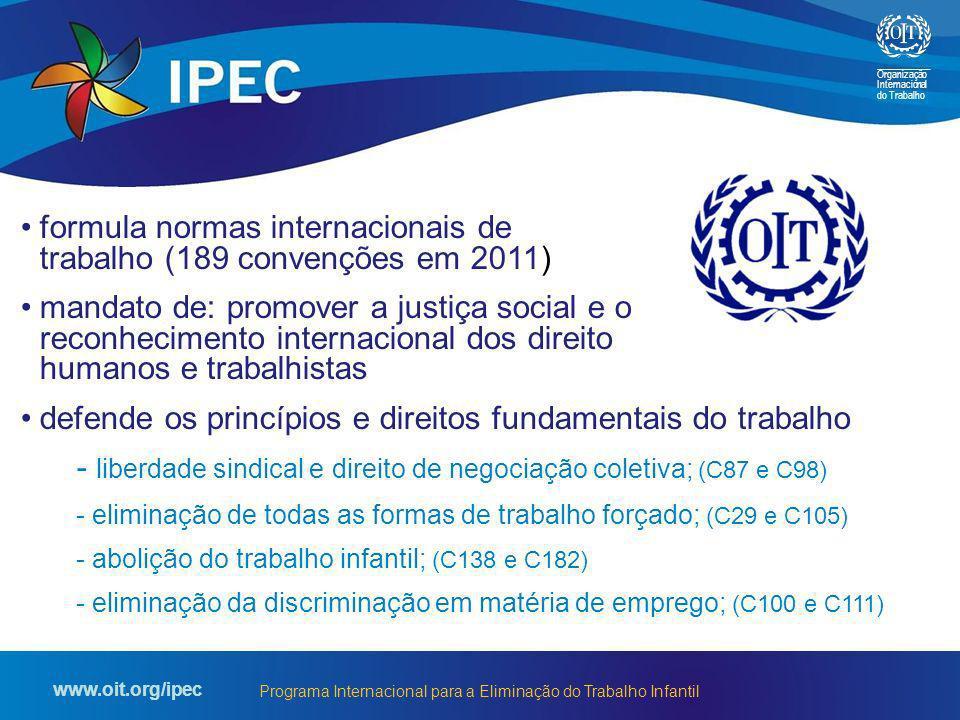 Organização Internacional do Trabalho www.oit.org/ipec Programa Internacional para a Eliminação do Trabalho Infantil formula normas internacionais de