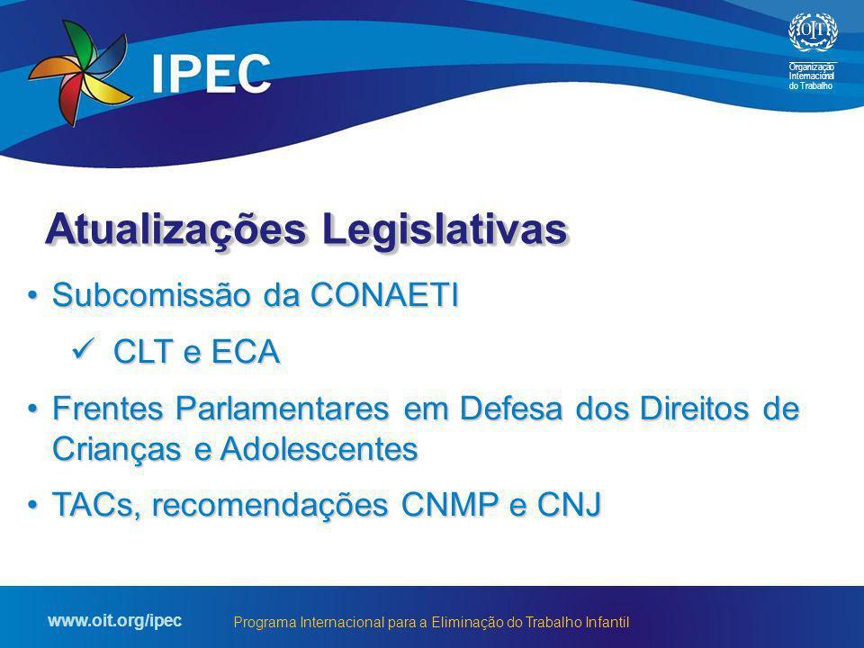 Organização Internacional do Trabalho www.oit.org/ipec Programa Internacional para a Eliminação do Trabalho Infantil Subcomissão da CONAETISubcomissão