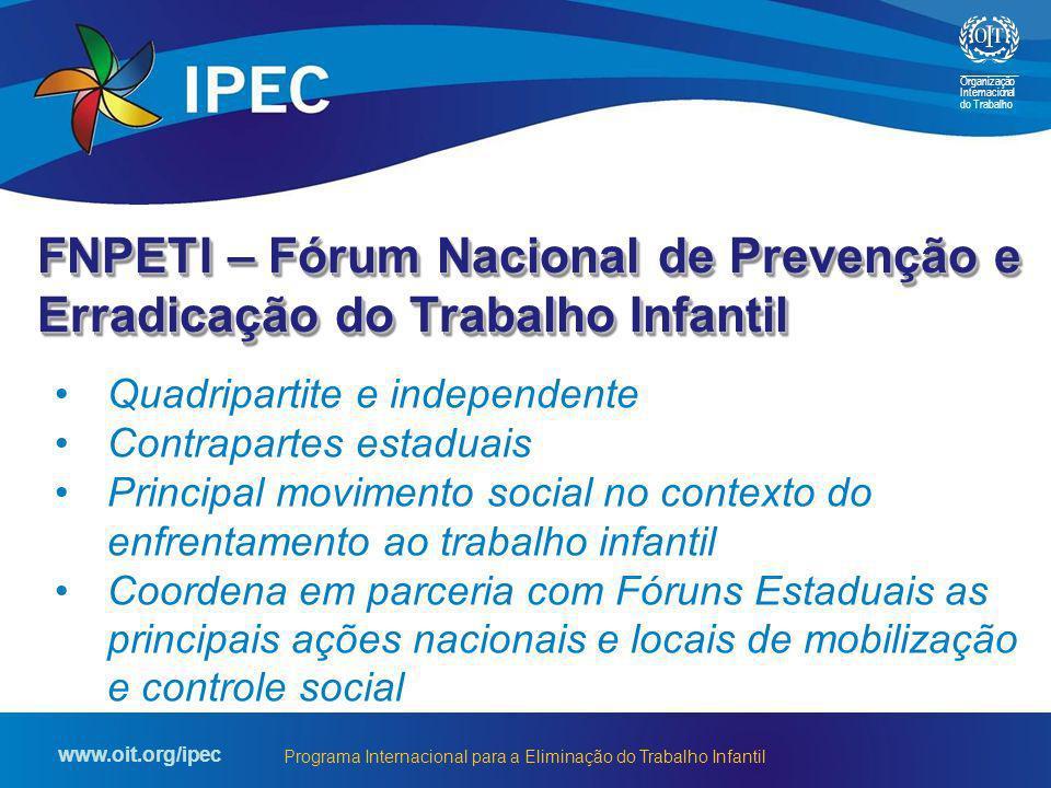 Organização Internacional do Trabalho www.oit.org/ipec Programa Internacional para a Eliminação do Trabalho Infantil FNPETI – Fórum Nacional de Preven