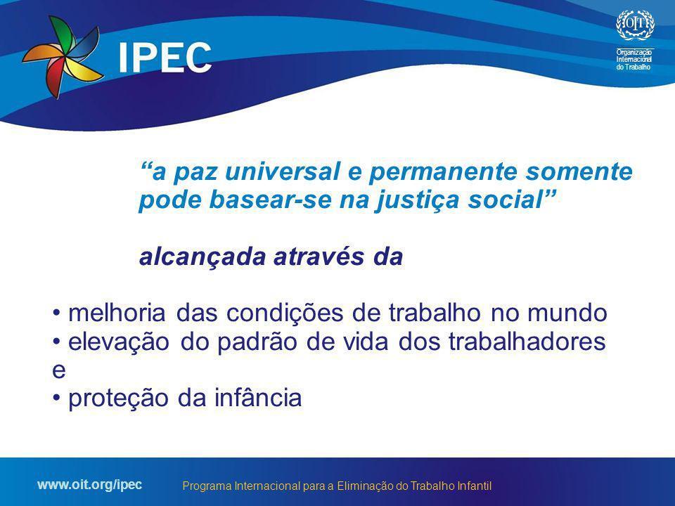 Organização Internacional do Trabalho www.oit.org/ipec Programa Internacional para a Eliminação do Trabalho Infantil a paz universal e permanente some