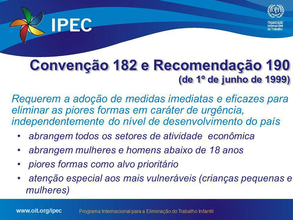 Organização Internacional do Trabalho www.oit.org/ipec Programa Internacional para a Eliminação do Trabalho Infantil Convenção 182 e Recomendação 190
