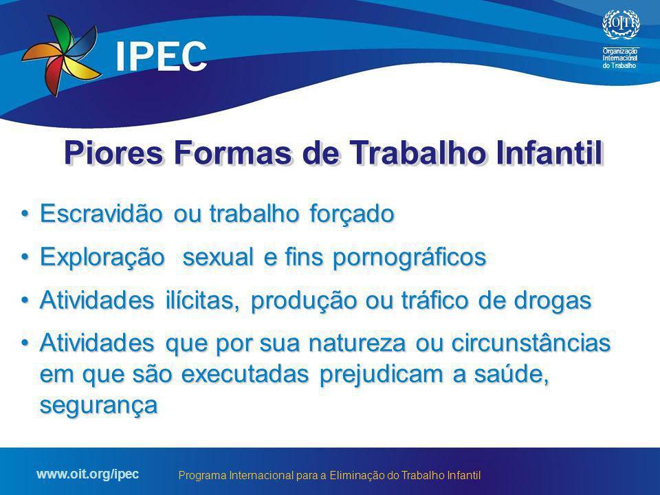 Organização Internacional do Trabalho www.oit.org/ipec Programa Internacional para a Eliminação do Trabalho Infantil Escravidão ou trabalho forçadoEsc