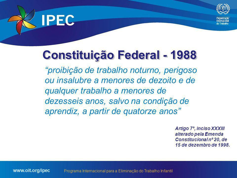 Organização Internacional do Trabalho www.oit.org/ipec Programa Internacional para a Eliminação do Trabalho Infantil proibição de trabalho noturno, pe