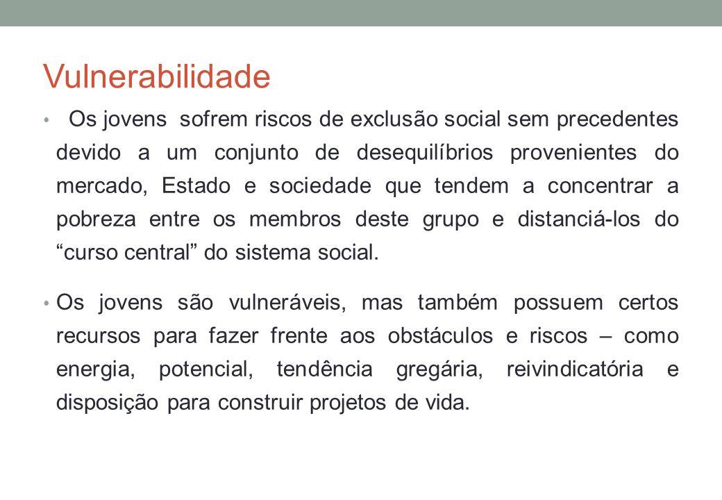 Vulnerabilidade Os jovens sofrem riscos de exclusão social sem precedentes devido a um conjunto de desequilíbrios provenientes do mercado, Estado e so