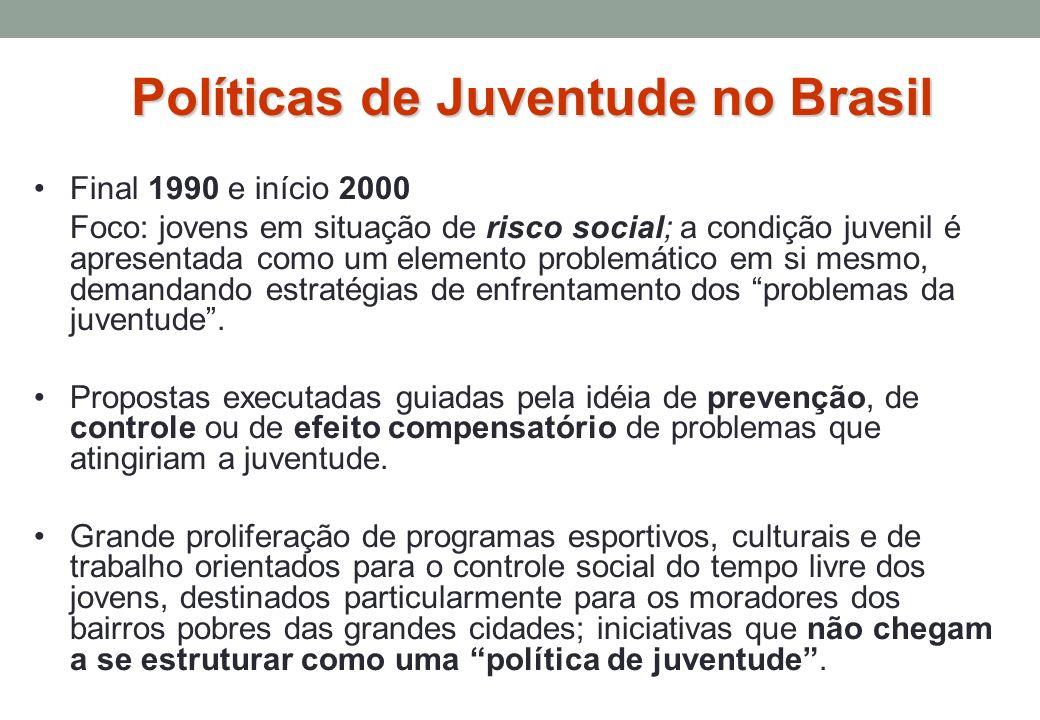 Final 1990 e início 2000 Foco: jovens em situação de risco social; a condição juvenil é apresentada como um elemento problemático em si mesmo, demandando estratégias de enfrentamento dos problemas da juventude.