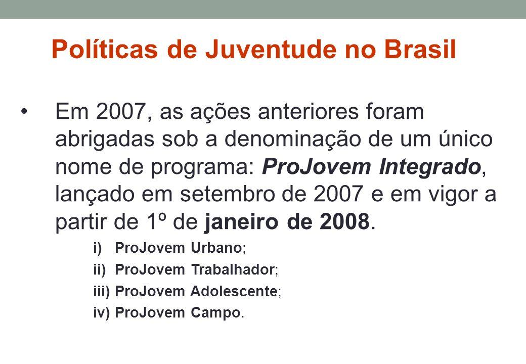 Em 2007, as ações anteriores foram abrigadas sob a denominação de um único nome de programa: ProJovem Integrado, lançado em setembro de 2007 e em vigor a partir de 1º de janeiro de 2008.