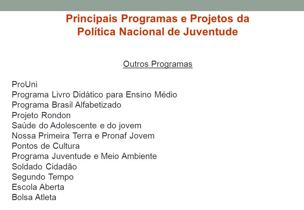 Principais Programas e Projetos da Política Nacional de Juventude Outros Programas ProUni Programa Livro Didático para Ensino Médio Programa Brasil Al