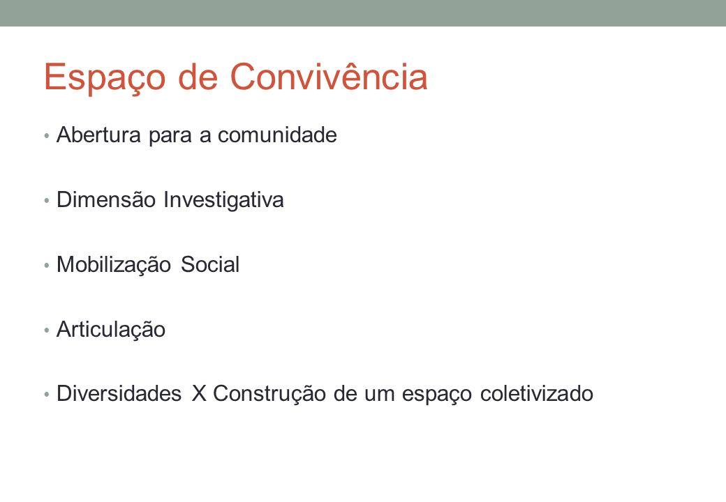 Espaço de Convivência Abertura para a comunidade Dimensão Investigativa Mobilização Social Articulação Diversidades X Construção de um espaço coletivizado