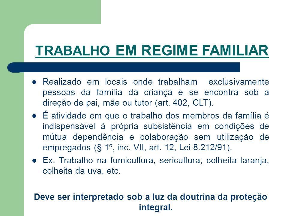 TRABALHO EM REGIME FAMILIAR Realizado em locais onde trabalham exclusivamente pessoas da família da criança e se encontra sob a direção de pai, mãe ou tutor (art.