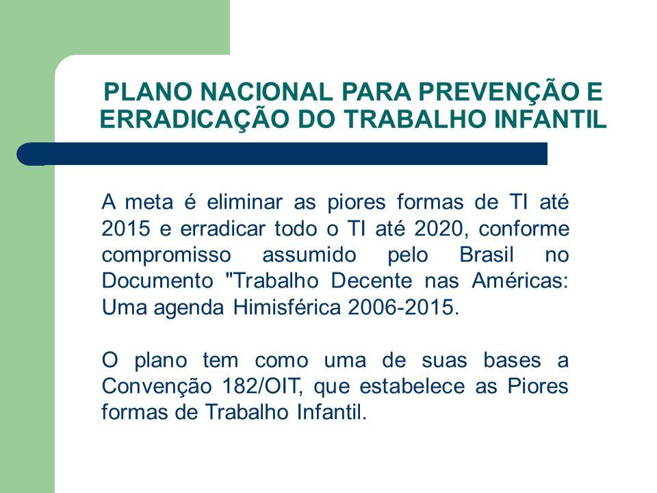 PLANO NACIONAL PARA PREVENÇÃO E ERRADICAÇÃO DO TRABALHO INFANTIL A meta é eliminar as piores formas de TI até 2015 e erradicar todo o TI até 2020, conforme compromisso assumido pelo Brasil no Documento Trabalho Decente nas Américas: Uma agenda Himisférica 2006-2015.