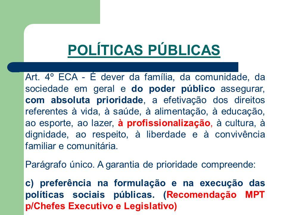 Art. 4º ECA - É dever da família, da comunidade, da sociedade em geral e do poder público assegurar, com absoluta prioridade, a efetivação dos direito