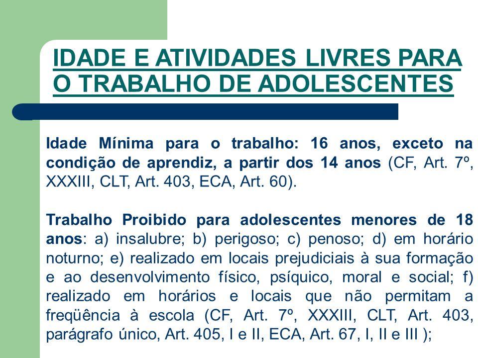 IDADE E ATIVIDADES LIVRES PARA O TRABALHO DE ADOLESCENTES Idade Mínima para o trabalho: 16 anos, exceto na condição de aprendiz, a partir dos 14 anos (CF, Art.
