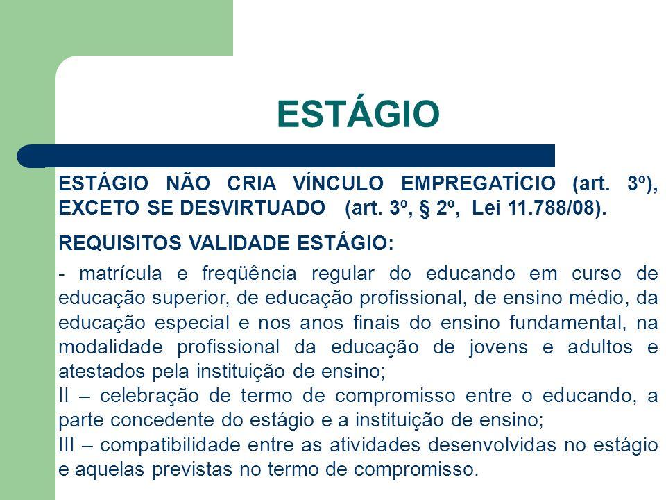 ESTÁGIO ESTÁGIO NÃO CRIA VÍNCULO EMPREGATÍCIO (art.