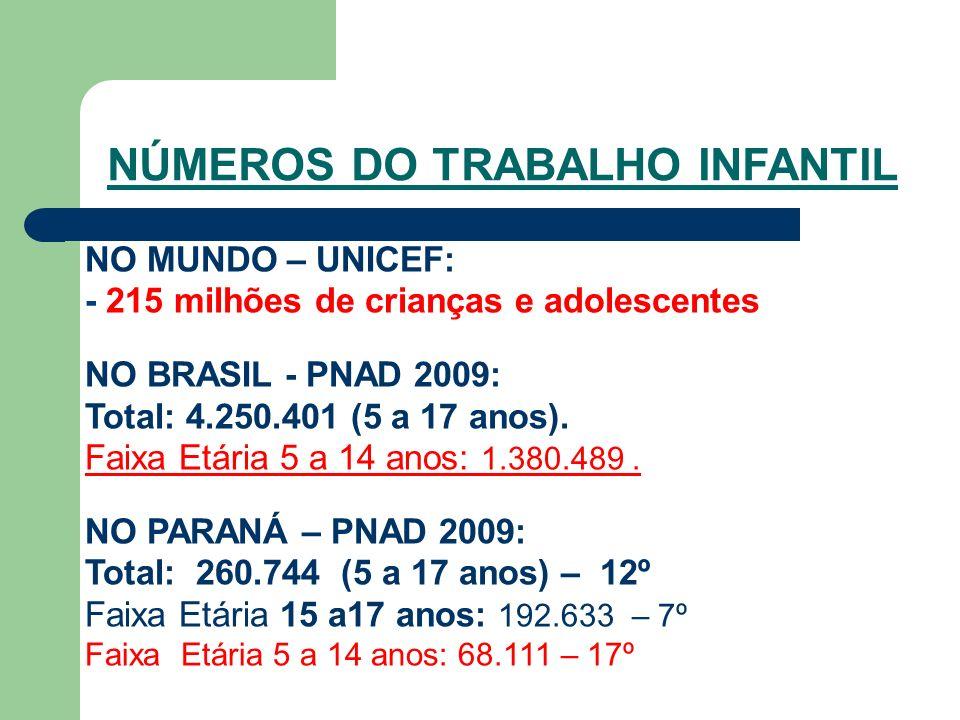 NO MUNDO – UNICEF: - 215 milhões de crianças e adolescentes NO BRASIL - PNAD 2009: Total: 4.250.401 (5 a 17 anos).