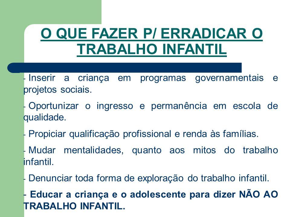 - Inserir a criança em programas governamentais e projetos sociais.