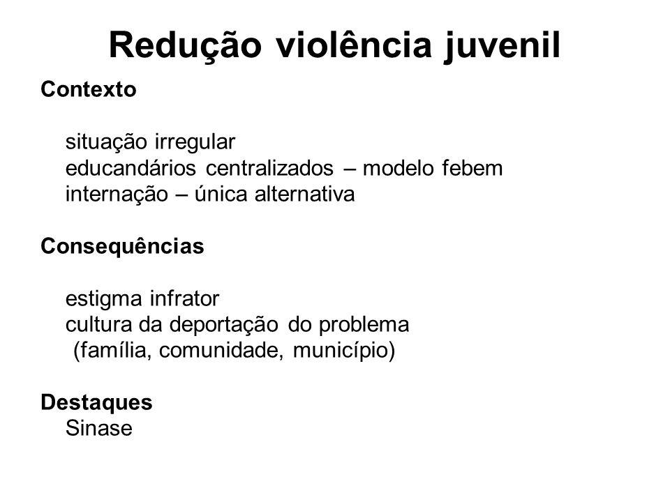 Redução violência juvenil Contexto situação irregular educandários centralizados – modelo febem internação – única alternativa Consequências estigma i