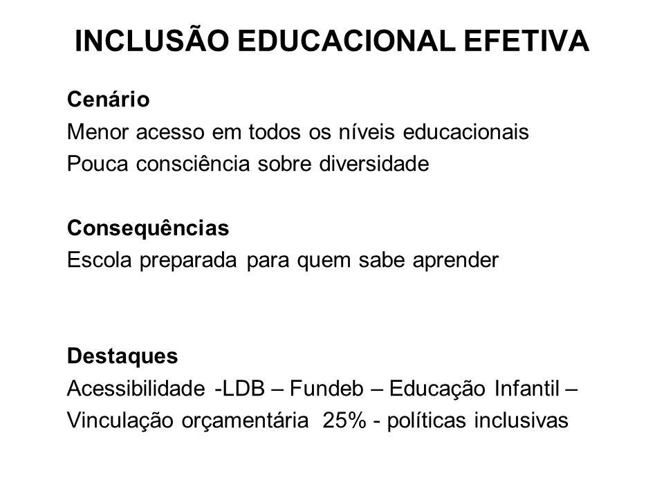 Cenário Menor acesso em todos os níveis educacionais Pouca consciência sobre diversidade Consequências Escola preparada para quem sabe aprender Destaq