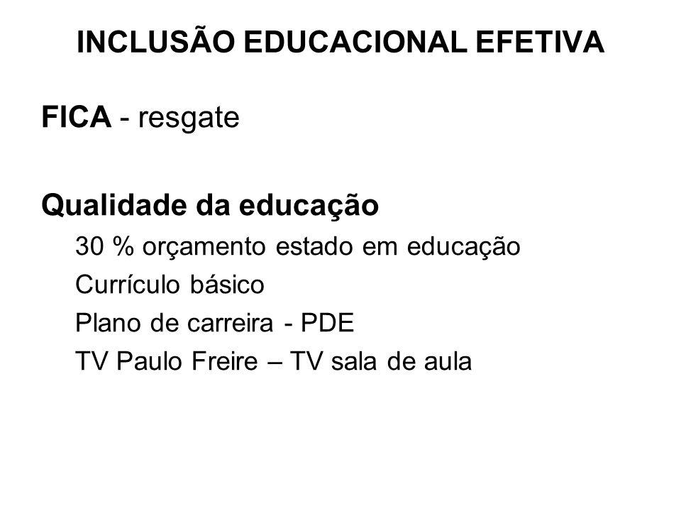 FICA - resgate Qualidade da educação 30 % orçamento estado em educação Currículo básico Plano de carreira - PDE TV Paulo Freire – TV sala de aula