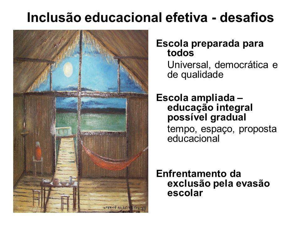 Inclusão educacional efetiva - desafios Escola preparada para todos Universal, democrática e de qualidade Escola ampliada – educação integral possível