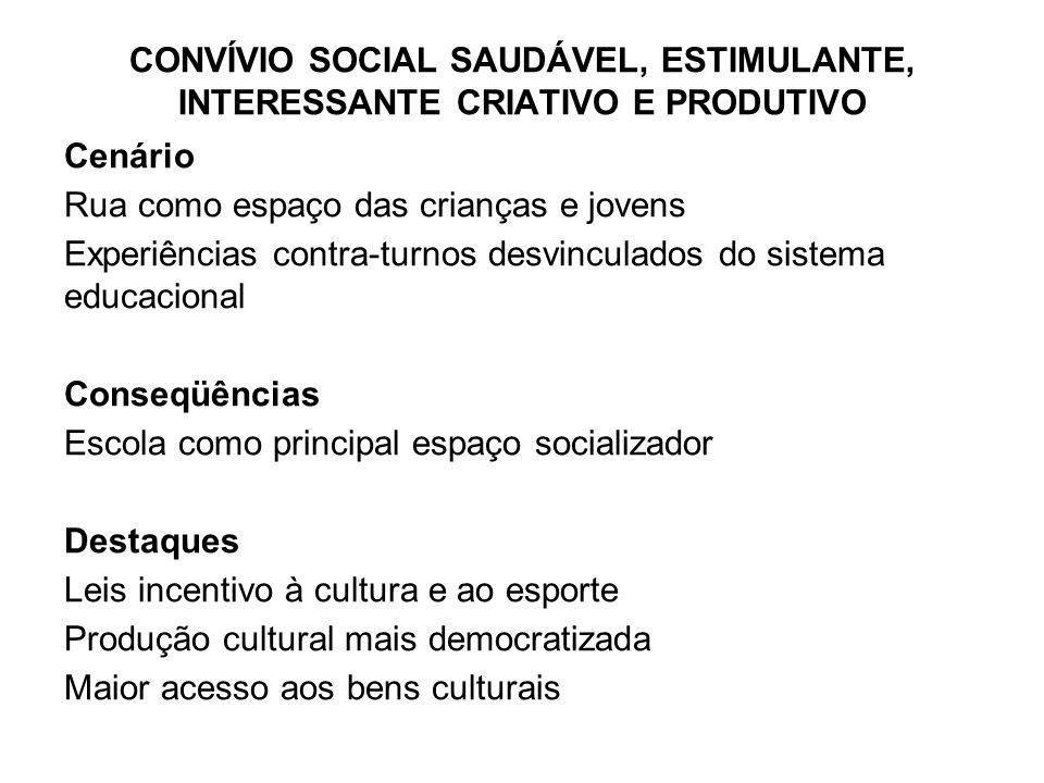 Cenário Rua como espaço das crianças e jovens Experiências contra-turnos desvinculados do sistema educacional Conseqüências Escola como principal espa