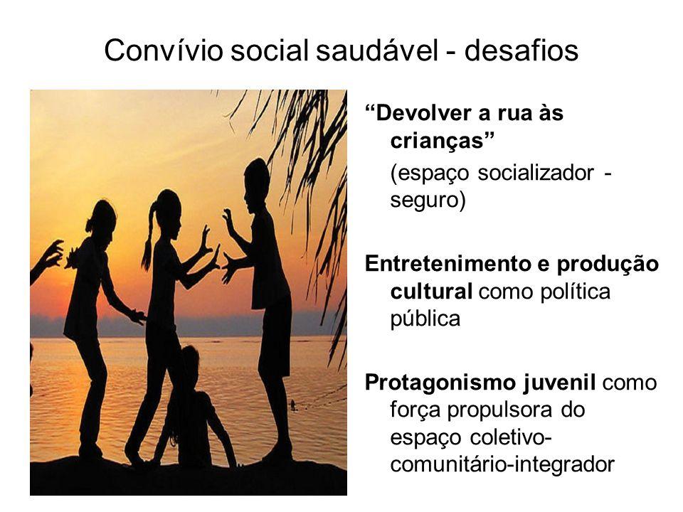 Convívio social saudável - desafios Devolver a rua às crianças (espaço socializador - seguro) Entretenimento e produção cultural como política pública