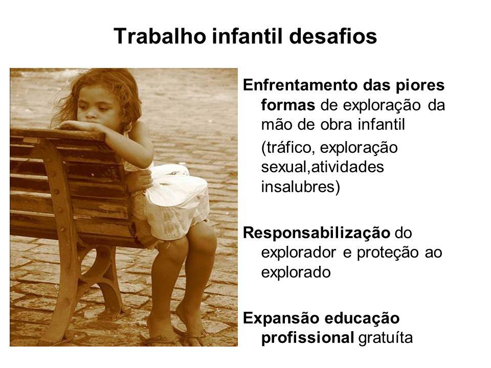 Trabalho infantil desafios Enfrentamento das piores formas de exploração da mão de obra infantil (tráfico, exploração sexual,atividades insalubres) Re