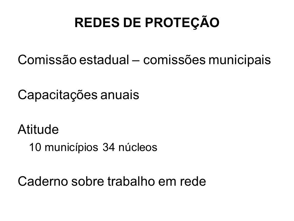Comissão estadual – comissões municipais Capacitações anuais Atitude 10 municípios 34 núcleos Caderno sobre trabalho em rede REDES DE PROTEÇÃO