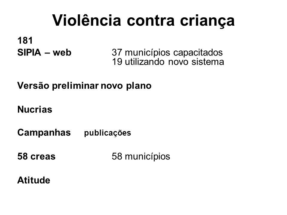 Violência contra criança 181 SIPIA – web 37 municípios capacitados 19 utilizando novo sistema Versão preliminar novo plano Nucrias Campanhas publicaçõ