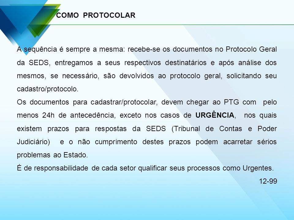 COMO PROTOCOLAR A sequência é sempre a mesma: recebe-se os documentos no Protocolo Geral da SEDS, entregamos a seus respectivos destinatários e após a