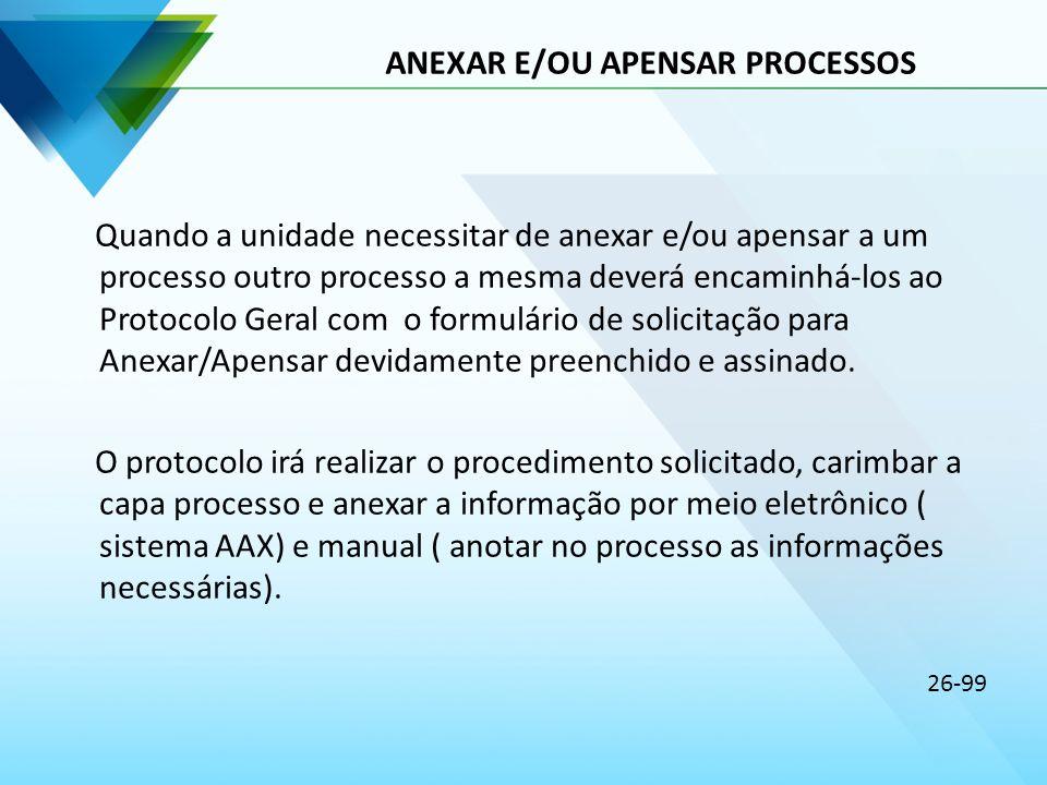 ANEXAR E/OU APENSAR PROCESSOS Quando a unidade necessitar de anexar e/ou apensar a um processo outro processo a mesma deverá encaminhá-los ao Protocol