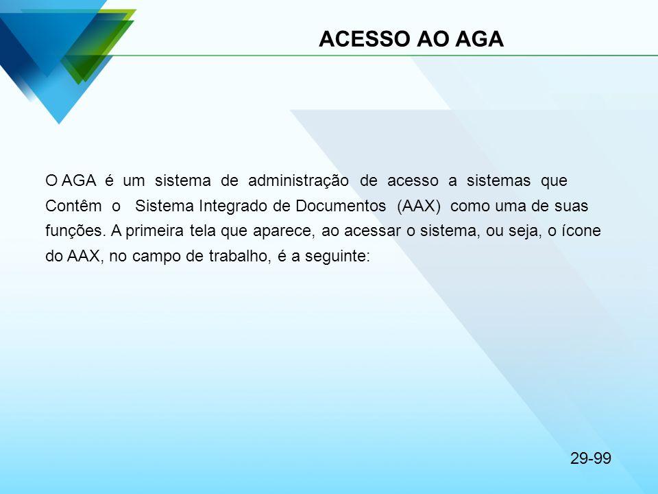 ACESSO AO AGA O AGA é um sistema de administração de acesso a sistemas que Contêm o Sistema Integrado de Documentos (AAX) como uma de suas funções. A